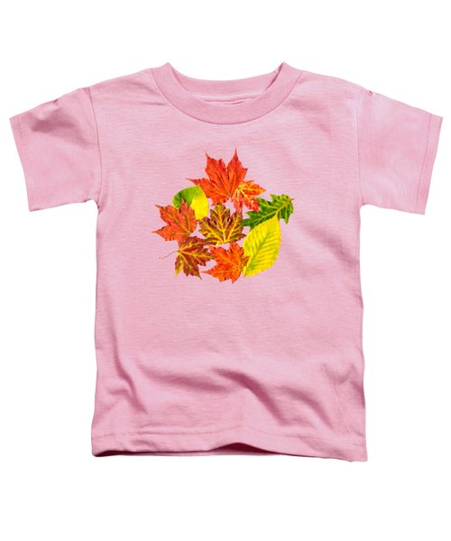 Toddler T-Shirt featuring the mixed media Fall Leaves Pattern by Christina Rollo
