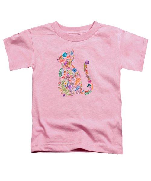 Fancy And Fine Flowered Cat Garden Design Toddler T-Shirt