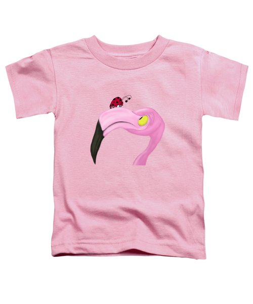 Fiona The Flamingo And Her Visitor Toddler T-Shirt by Michelle Brenmark
