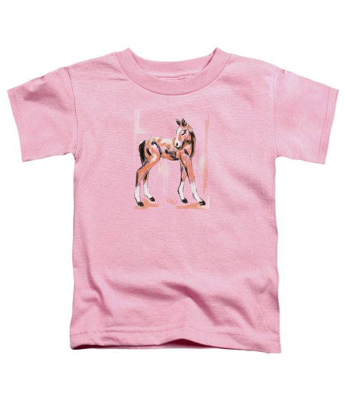 Toddler T-Shirt featuring the painting Foal Peach by Go Van Kampen