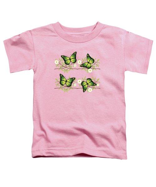 Four Green Butterflies Toddler T-Shirt by Gaspar Avila