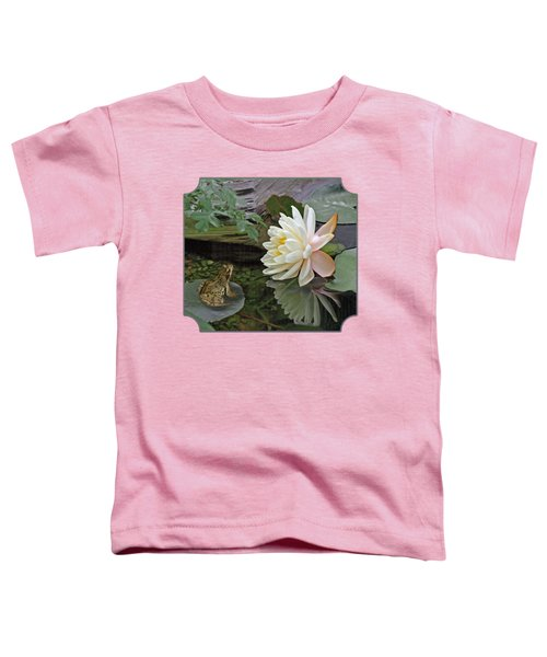 Frog In Awe Of White Water Lily Toddler T-Shirt by Gill Billington