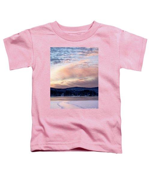 Frozen Lake Sunset In Wilton Maine  -78096-78097 Toddler T-Shirt