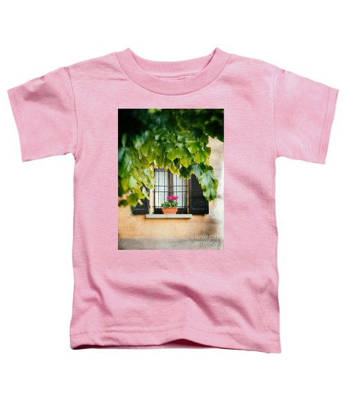 Toddler T-Shirt featuring the photograph Geraniums On Windowsill by Silvia Ganora