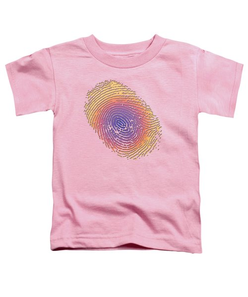 Giant Iridescent Fingerprint On Salmon Roe Pink Set Of 4 - 2 Of 4 Toddler T-Shirt by Serge Averbukh
