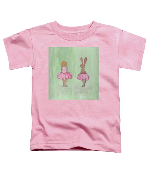 Girl And Bunny In Pink Tutus Toddler T-Shirt
