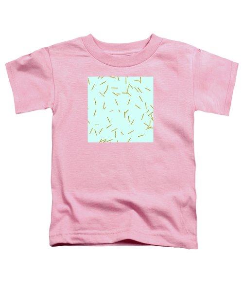 Glitter Confetti On Aqua Gold Pick Up Sticks Pattern Toddler T-Shirt