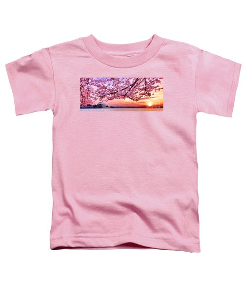 Glorious Sunset Over Cherry Tree At The Jefferson Memorial  Toddler T-Shirt