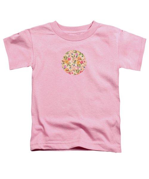 Golden Flitch Digital Vintage Retro  Glitched Pastel Flowers  Floral Design Pattern Toddler T-Shirt by Philipp Rietz