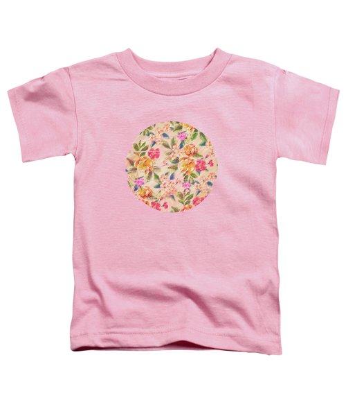 Golden Flitch Digital Vintage Retro  Glitched Pastel Flowers  Floral Design Pattern Toddler T-Shirt
