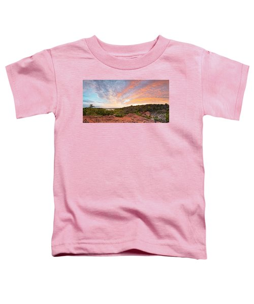 Granite Hills Of Inks Lake State Park Against Fiery Sunset - Burnet County Texas Hill Country Toddler T-Shirt