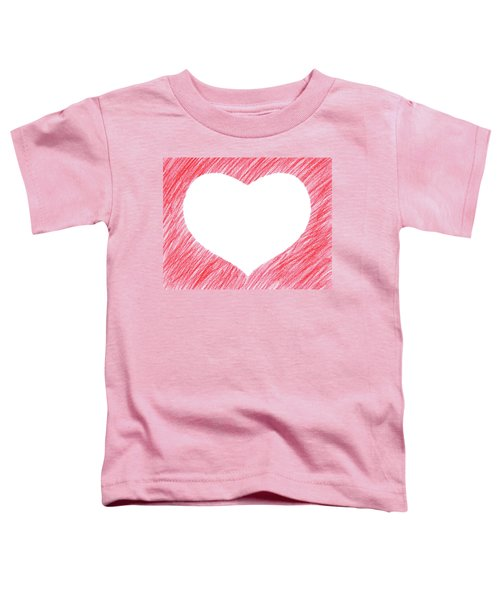 Hand-drawn Red Heart Shape Toddler T-Shirt by GoodMood Art