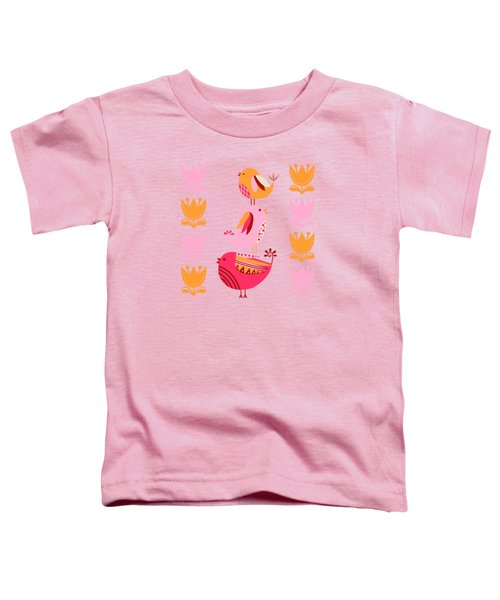 Happy Pink And Orange Birds And Blooms Toddler T-Shirt
