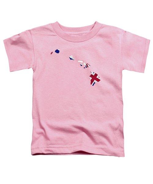 Hawaii Map Art With Flag Design Toddler T-Shirt