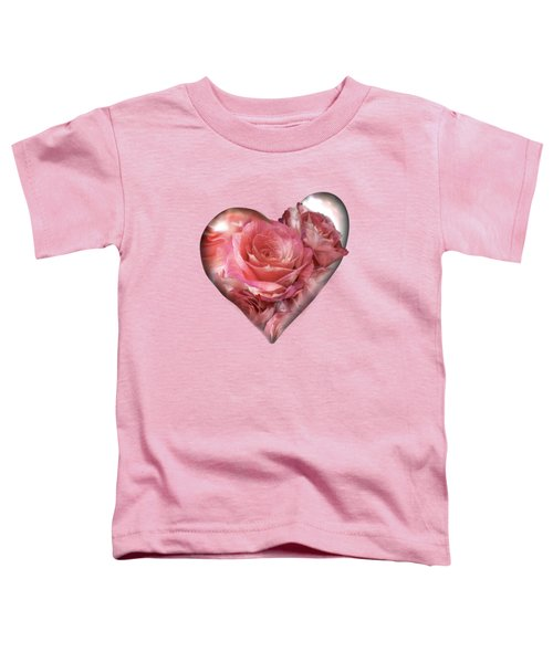 Heart Of A Rose - Melon Peach Toddler T-Shirt by Carol Cavalaris