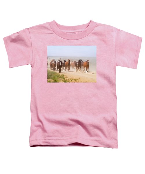 Herd Of Horses During The Great American Horse Drive On A Dusty Road Toddler T-Shirt