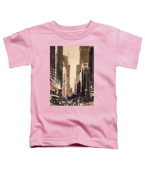 Toddler T-Shirt featuring the painting Hong-kong Cityscape Painting by Tithi Luadthong