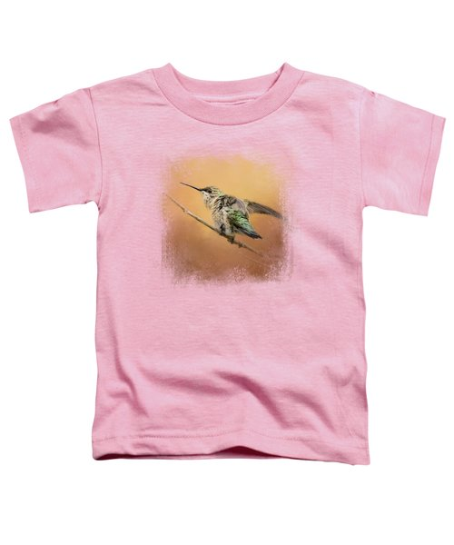 Hummingbird On Peach Toddler T-Shirt by Jai Johnson