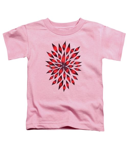 Ink Drawn Abstract Red Doodle Flower Toddler T-Shirt