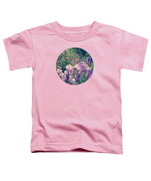 Irises And Roses In The Garden Toddler T-Shirt by Mary Wolf