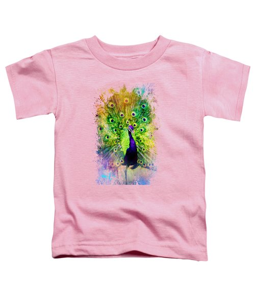 Jazzy Peacock Colorful Bird Art By Jai Johnson Toddler T-Shirt by Jai Johnson