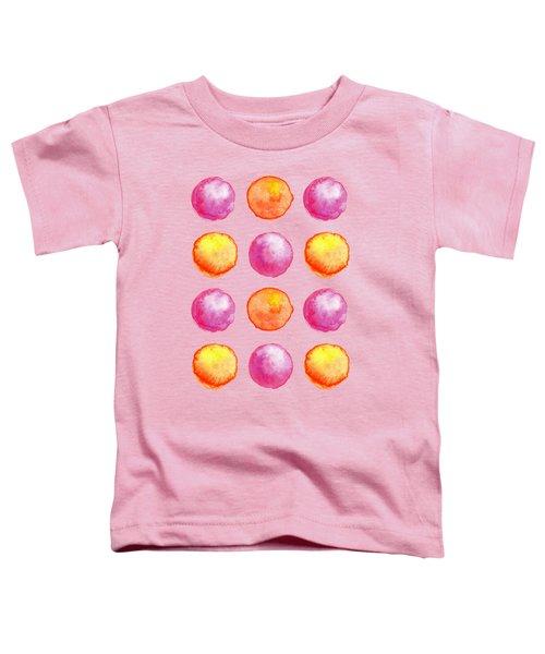 Juicy Watercolor Pink And Orange Spheres Pattern Toddler T-Shirt