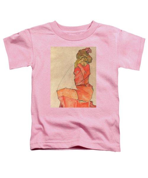 Kneeling Female In Orange-red Dress Toddler T-Shirt