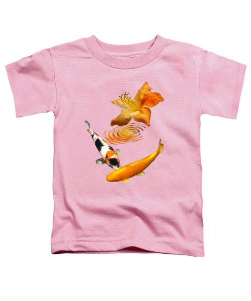 Koi With Azalea Ripples Vertical Toddler T-Shirt by Gill Billington