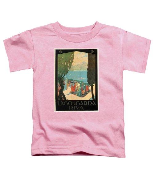 Lago Di Garda Riva, Italy - Lake Garda - Retro Travel Poster - Vintage Poster Toddler T-Shirt