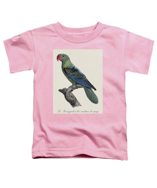 Le Perroquet A Bec Couleur De Sang / Great-billed Parrot - Restored 19thc. Illustration By Barraband Toddler T-Shirt