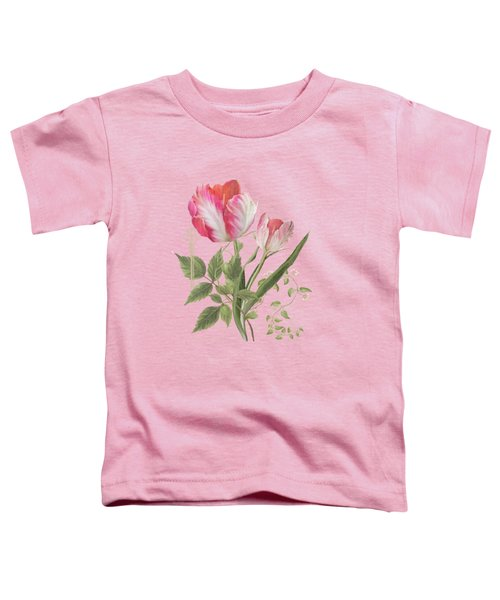 Les Magnifiques Fleurs I - Magnificent Garden Flowers Parrot Tulips N Indigo Bunting Songbird Toddler T-Shirt by Audrey Jeanne Roberts