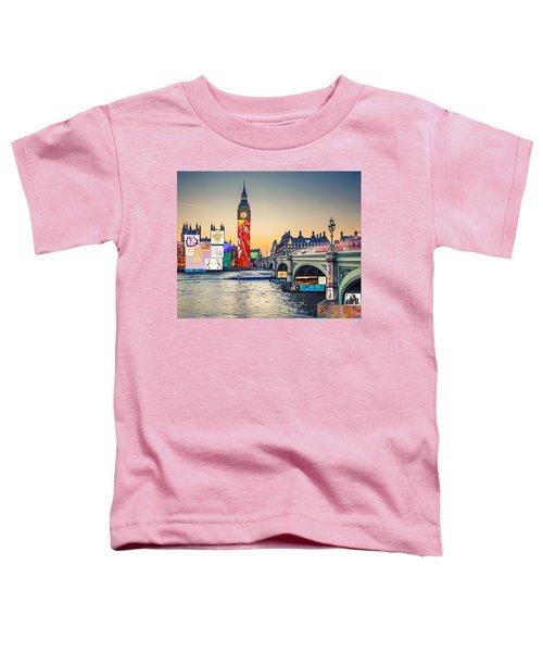 London Skyline Collage 3 Inc Big Ben, Westminster  Toddler T-Shirt