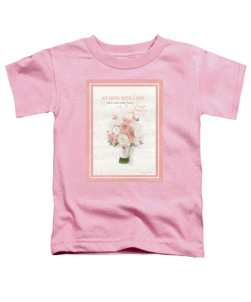 Love Typography Bridal Bouquet Damask Lace Coral Peach Blush Toddler T-Shirt