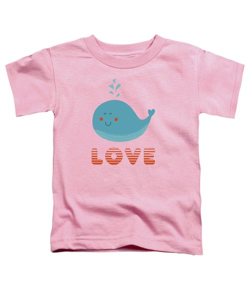 Love Whale Cute Animals Toddler T-Shirt by Edward Fielding