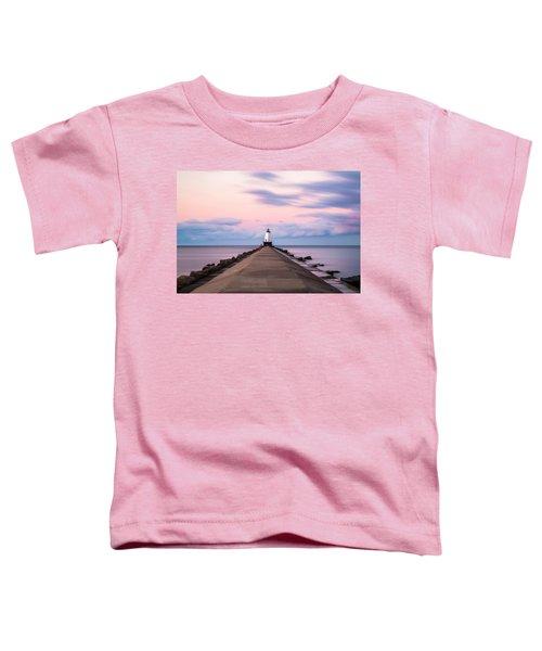 Toddler T-Shirt featuring the photograph Ludington North Breakwater Light Sunrise by Adam Romanowicz