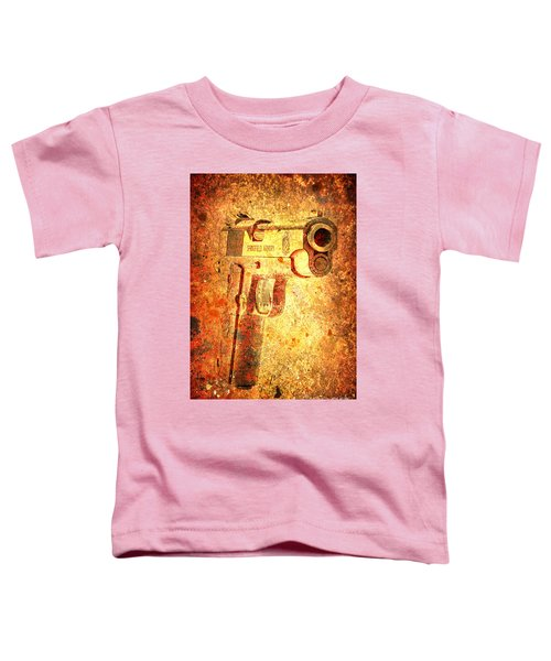 M1911 Muzzle On Rusted Background 3/4 View Toddler T-Shirt