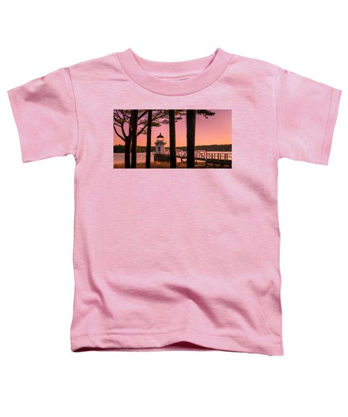 Maine Doubling Point Lighthouse At Sunset Panorama Toddler T-Shirt