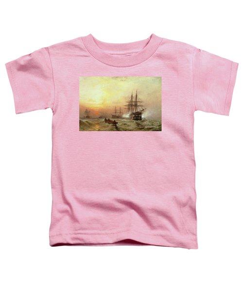 Man-o-war Firing A Salute At Sunset Toddler T-Shirt