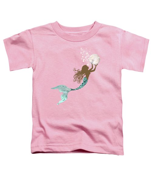 Mermaid Of Color Gathering Pearls Brown Siren Holds A Huge Pearl Toddler T-Shirt by Tina Lavoie