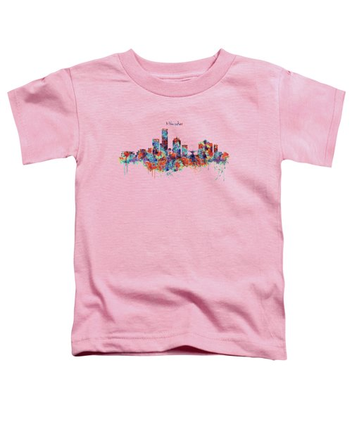 Milwaukee Watercolor Skyline Toddler T-Shirt by Marian Voicu