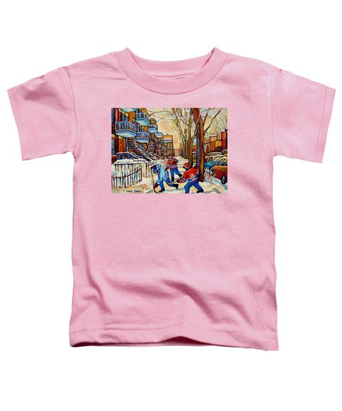 Montreal Hockey Game With 3 Boys Toddler T-Shirt