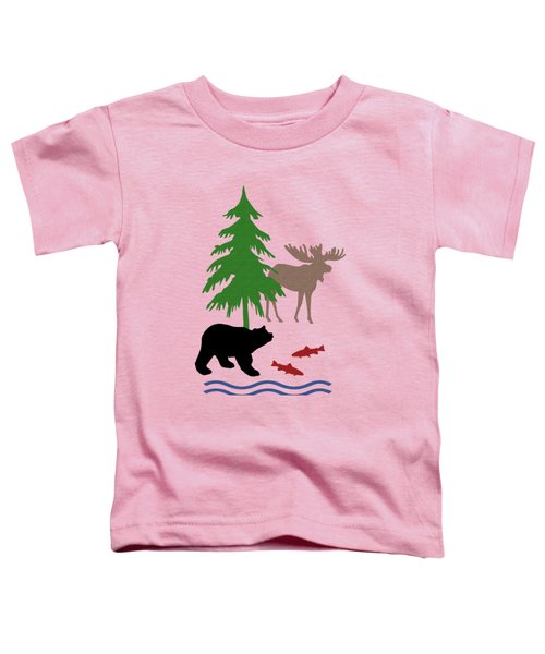 Moose And Bear Pattern Art Toddler T-Shirt by Christina Rollo