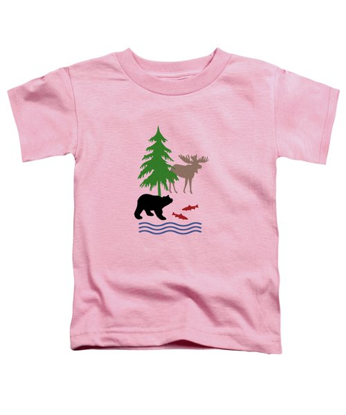 Moose And Bear Pattern Art Toddler T-Shirt
