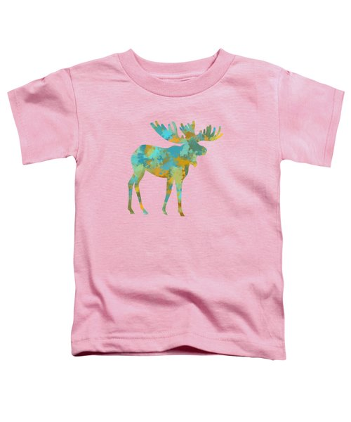 Moose Watercolor Art Toddler T-Shirt by Christina Rollo