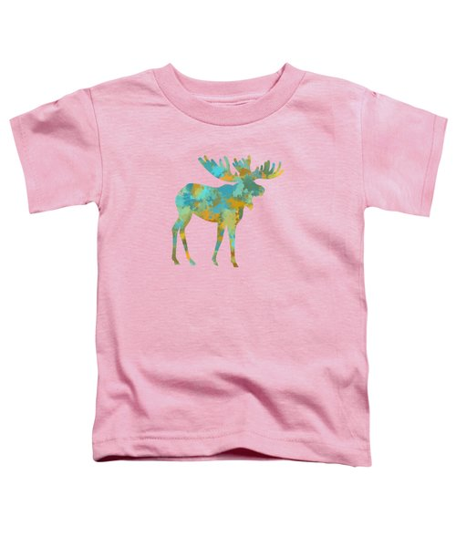 Moose Watercolor Art Toddler T-Shirt