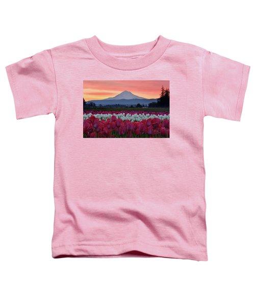Mount Hood Sunrise With Tulips Toddler T-Shirt