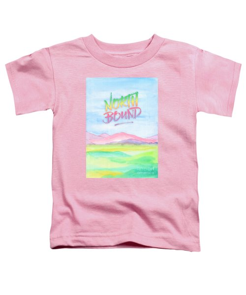 North Bound Pink Purple Mountains Watercolor Painting Toddler T-Shirt