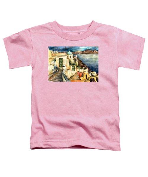 Oia Santorini Greece - Watercolor Toddler T-Shirt