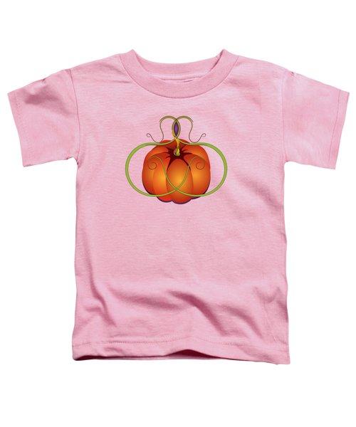 Orange Curvy Autumn Pumpkin Graphic Toddler T-Shirt