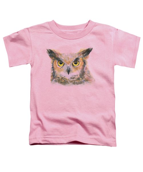 Owl Watercolor Portrait Great Horned Toddler T-Shirt by Olga Shvartsur